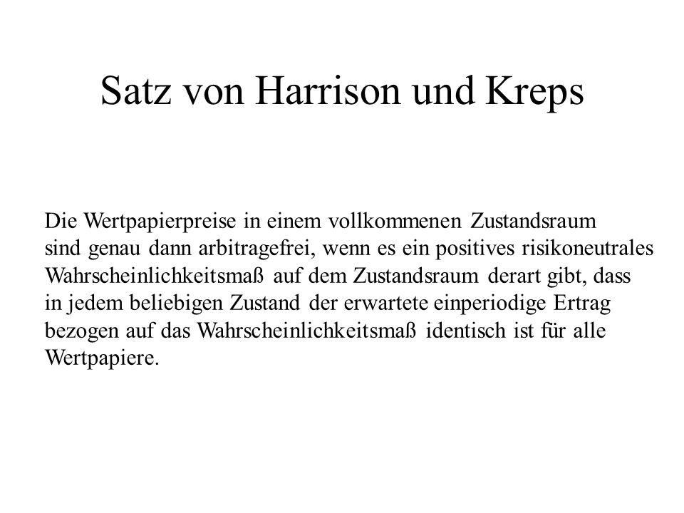 Satz von Harrison und Kreps Die Wertpapierpreise in einem vollkommenen Zustandsraum sind genau dann arbitragefrei, wenn es ein positives risikoneutral