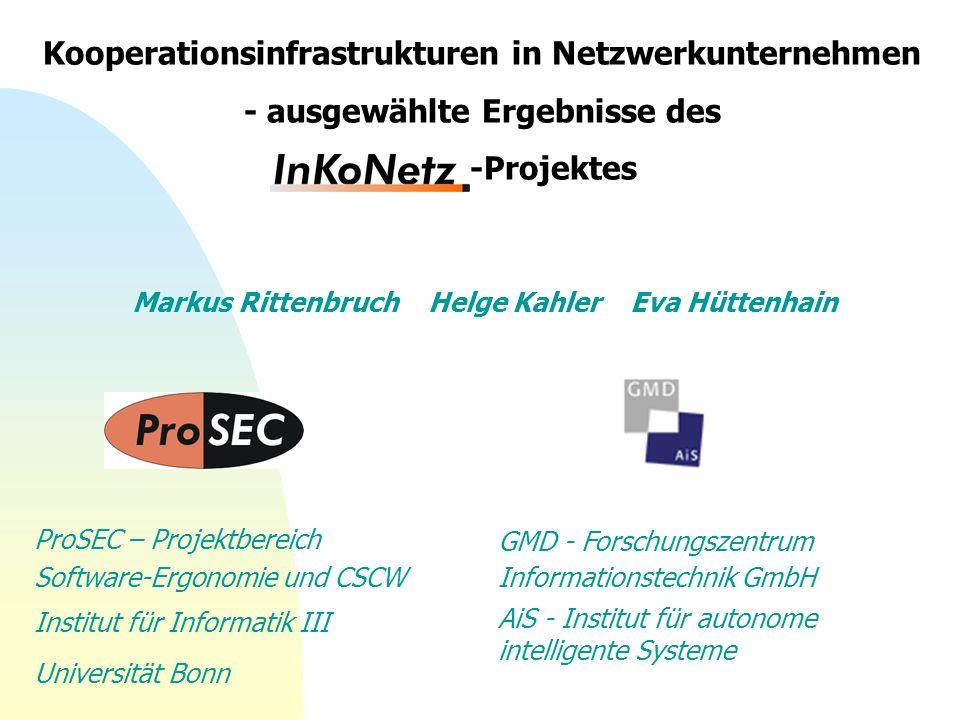 Markus Rittenbruch Helge Kahler Eva Hüttenhain ProSEC – Projektbereich Software-Ergonomie und CSCW Institut für Informatik III Universität Bonn GMD -