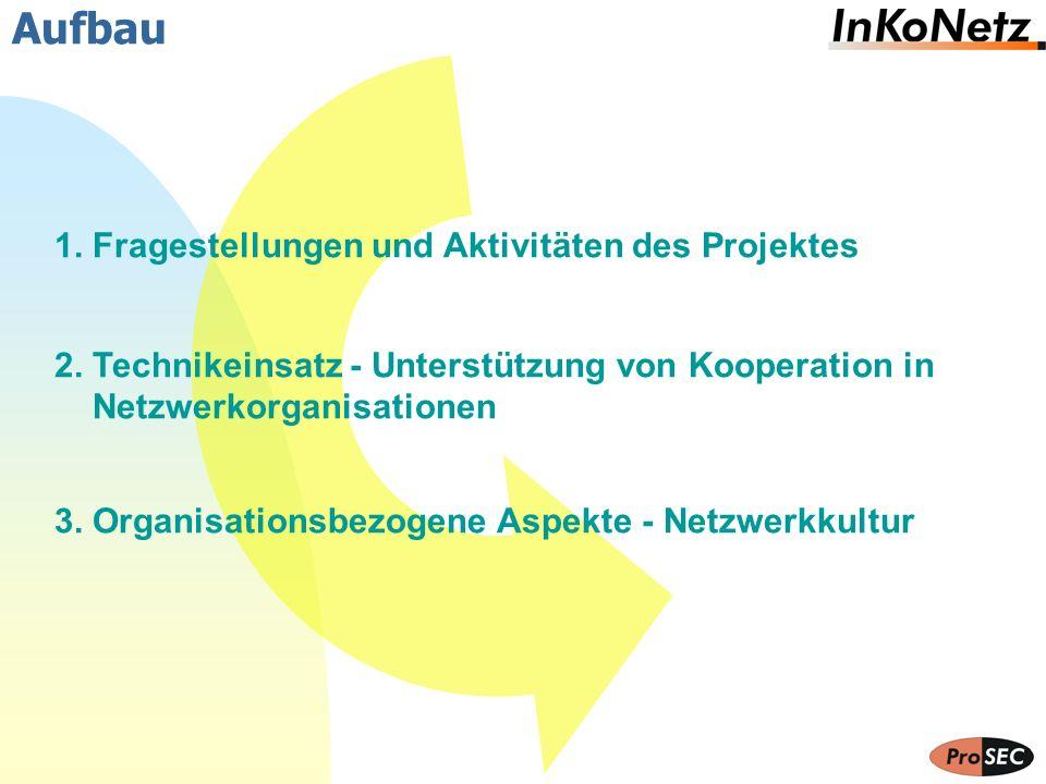 Aufbau 1. Fragestellungen und Aktivitäten des Projektes 2. Technikeinsatz - Unterstützung von Kooperation in Netzwerkorganisationen 3. Organisationsbe