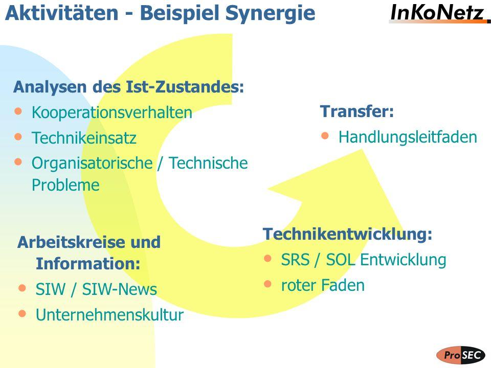 Aktivitäten - Beispiel Synergie Technikentwicklung: SRS / SOL Entwicklung roter Faden Analysen des Ist-Zustandes: Kooperationsverhalten Technikeinsatz