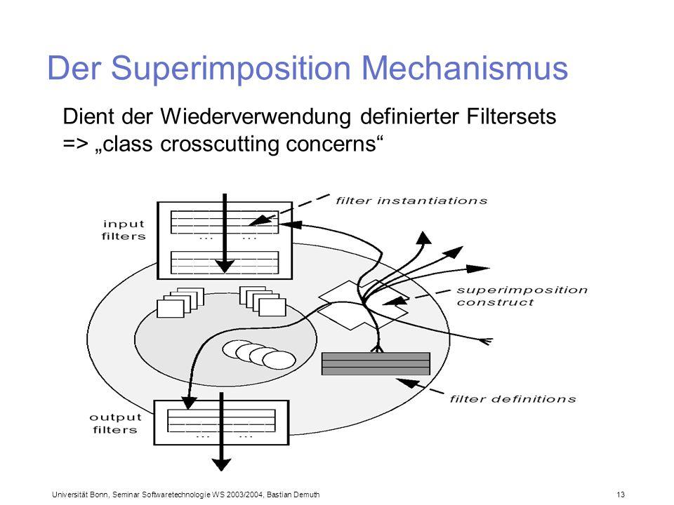 Universität Bonn, Seminar Softwaretechnologie WS 2003/2004, Bastian Demuth 13 Der Superimposition Mechanismus Dient der Wiederverwendung definierter Filtersets => class crosscutting concerns