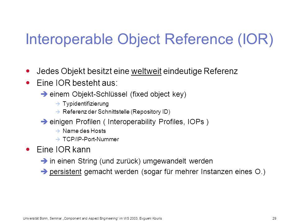 Universität Bonn, Seminar Component and Aspect Engineering im WS 2003, Evgueni Kouris 29 Interoperable Object Reference (IOR) Jedes Objekt besitzt ein