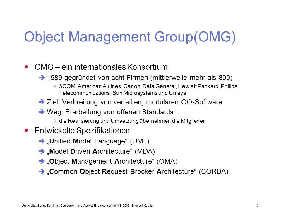 Universität Bonn, Seminar Component and Aspect Engineering im WS 2003, Evgueni Kouris 31 Object Management Group(OMG) OMG – ein internationales Konsor