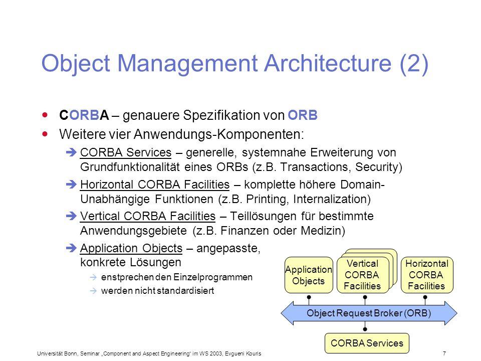 Universität Bonn, Seminar Component and Aspect Engineering im WS 2003, Evgueni Kouris 7 Object Management Architecture (2) CORBA – genauere Spezifikat