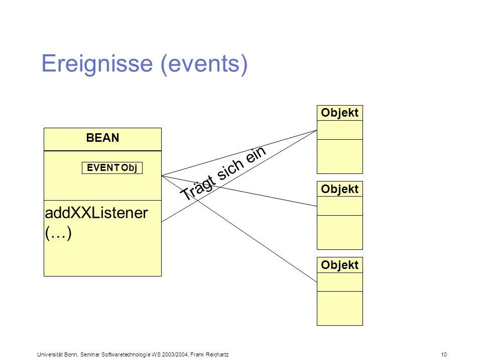 Universität Bonn, Seminar Softwaretechnologie WS 2003/2004, Frank Reichartz 10 Ereignisse (events) BEAN addXXListener (…) Objekt Trägt sich ein EVENT Obj