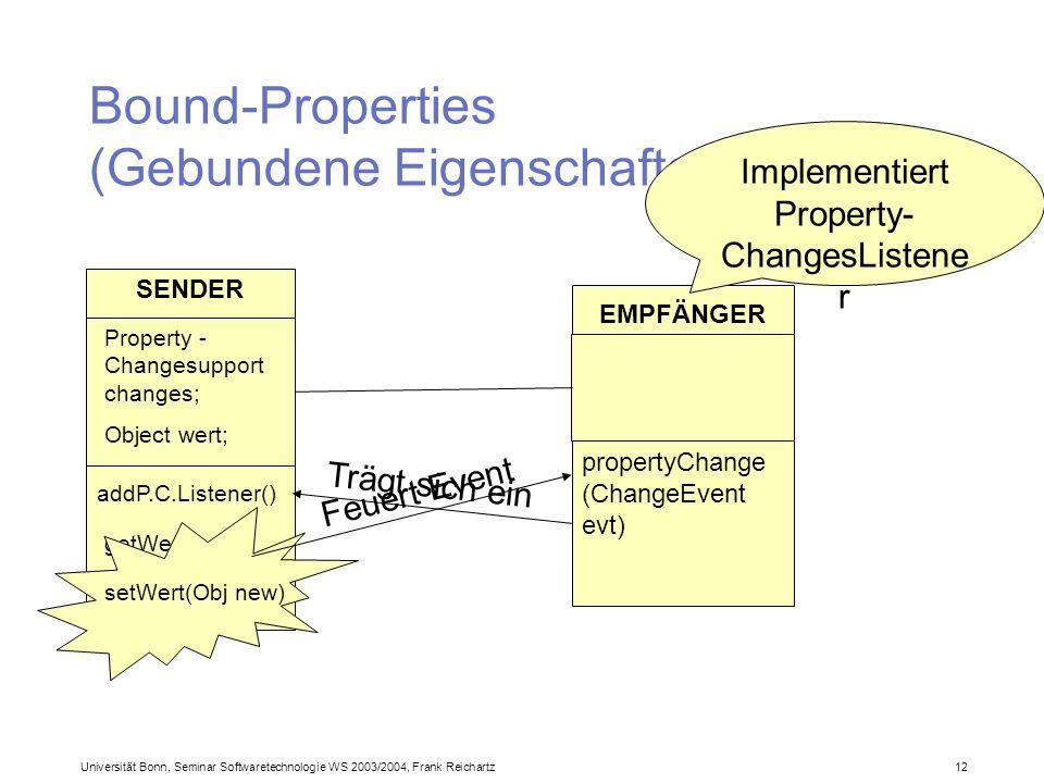 Universität Bonn, Seminar Softwaretechnologie WS 2003/2004, Frank Reichartz 12 Bound-Properties (Gebundene Eigenschaften) SENDER Property - Changesupport changes; Object wert; EMPFÄNGER addP.C.Listener() Trägt sich ein Implementiert Property- ChangesListene r propertyChange (ChangeEvent evt) getWert() setWert(Obj new) Feuert Event