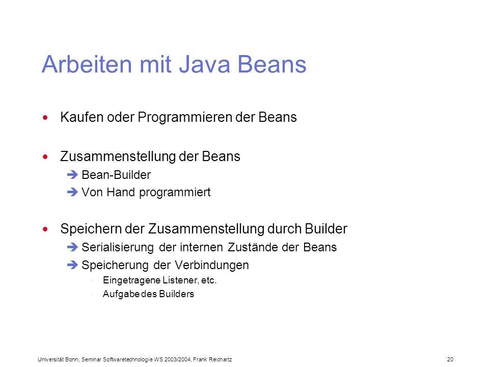Universität Bonn, Seminar Softwaretechnologie WS 2003/2004, Frank Reichartz 20 Arbeiten mit Java Beans Kaufen oder Programmieren der Beans Zusammenstellung der Beans Bean-Builder Von Hand programmiert Speichern der Zusammenstellung durch Builder Serialisierung der internen Zustände der Beans Speicherung der Verbindungen · Eingetragene Listener, etc.