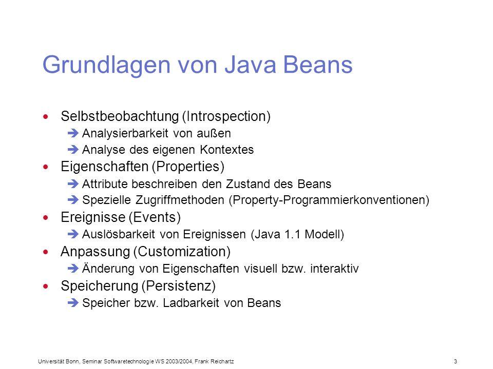 Universität Bonn, Seminar Softwaretechnologie WS 2003/2004, Frank Reichartz 3 Grundlagen von Java Beans Selbstbeobachtung (Introspection) Analysierbarkeit von außen Analyse des eigenen Kontextes Eigenschaften (Properties) Attribute beschreiben den Zustand des Beans Spezielle Zugriffmethoden (Property-Programmierkonventionen) Ereignisse (Events) Auslösbarkeit von Ereignissen (Java 1.1 Modell) Anpassung (Customization) Änderung von Eigenschaften visuell bzw.