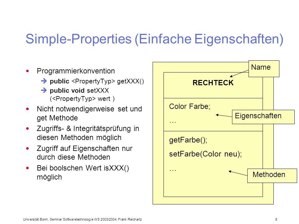 Universität Bonn, Seminar Softwaretechnologie WS 2003/2004, Frank Reichartz 8 Simple-Properties (Einfache Eigenschaften) Programmierkonvention public getXXX() public void setXXX ( wert ) Nicht notwendigerweise set und get Methode Zugriffs- & Integritätsprüfung in diesen Methoden möglich Zugriff auf Eigenschaften nur durch diese Methoden Bei boolschen Wert isXXX() möglich RECHTECK Color Farbe; … getFarbe(); setFarbe(Color neu); … Name Eigenschaften Methoden