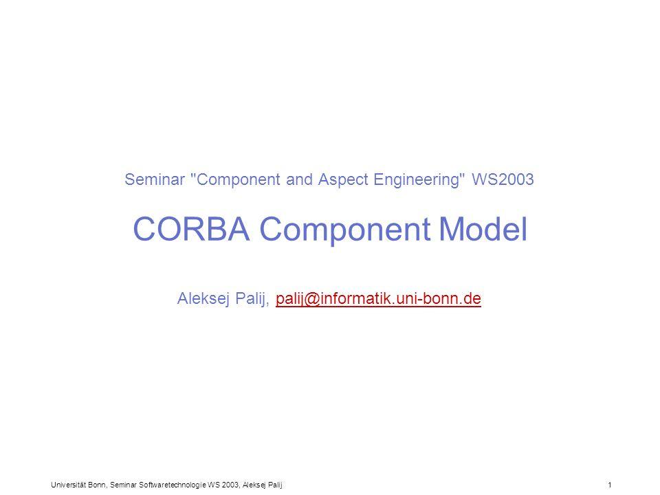 Universität Bonn, Seminar Softwaretechnologie WS 2003, Aleksej Palij 1 Seminar