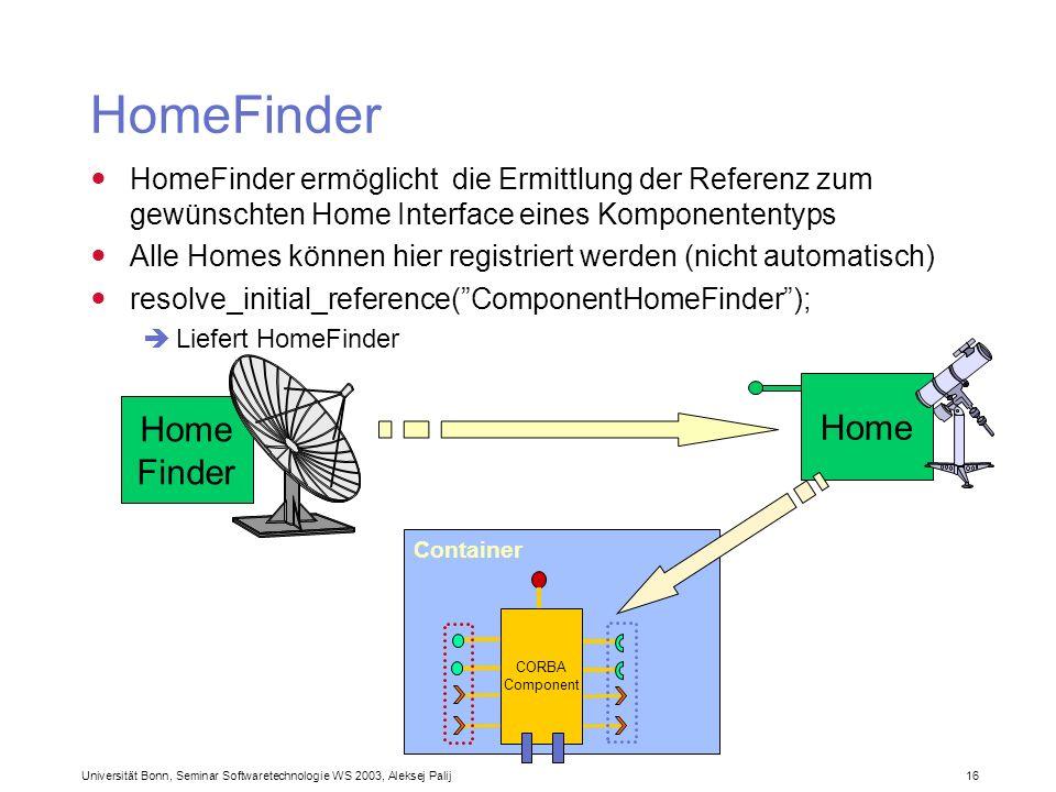 Universität Bonn, Seminar Softwaretechnologie WS 2003, Aleksej Palij 16 Container HomeFinder HomeFinder ermöglicht die Ermittlung der Referenz zum gew