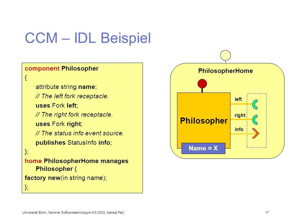 Universität Bonn, Seminar Softwaretechnologie WS 2003, Aleksej Palij 17 PhilosopherHome CCM – IDL Beispiel component Philosopher { attribute string na