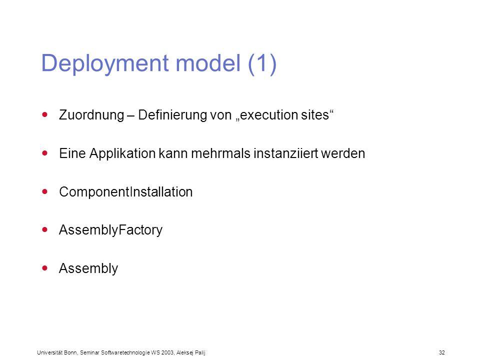Universität Bonn, Seminar Softwaretechnologie WS 2003, Aleksej Palij 32 Deployment model (1) Zuordnung – Definierung von execution sites Eine Applikat