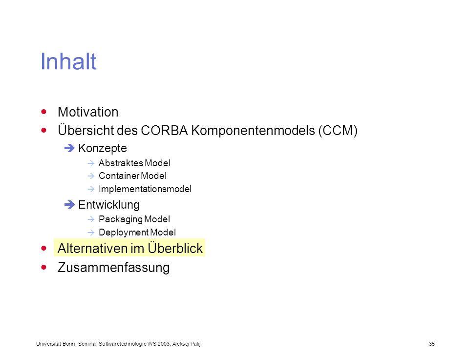 Universität Bonn, Seminar Softwaretechnologie WS 2003, Aleksej Palij 35 Inhalt Motivation Übersicht des CORBA Komponentenmodels (CCM) Konzepte Abstrak