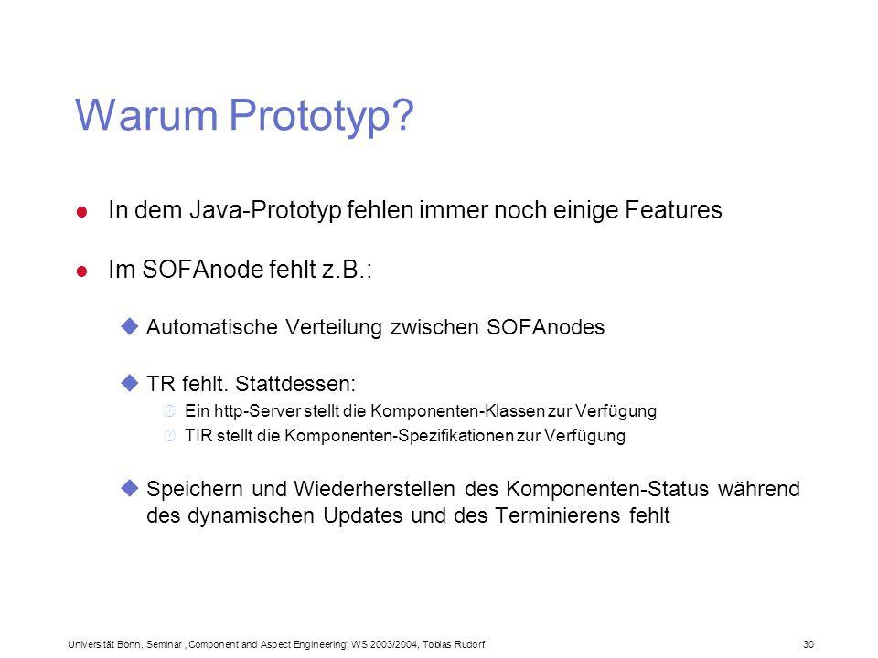 Universität Bonn, Seminar Component and Aspect Engineering WS 2003/2004, Tobias Rudorf30 Warum Prototyp? l In dem Java-Prototyp fehlen immer noch eini
