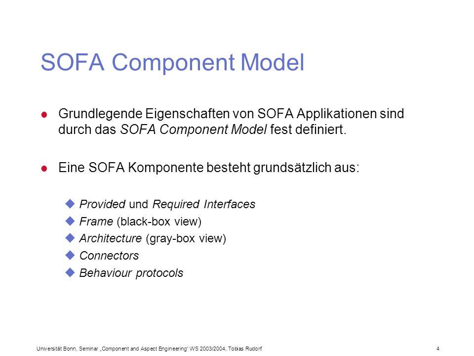 Universität Bonn, Seminar Component and Aspect Engineering WS 2003/2004, Tobias Rudorf4 SOFA Component Model l Grundlegende Eigenschaften von SOFA App
