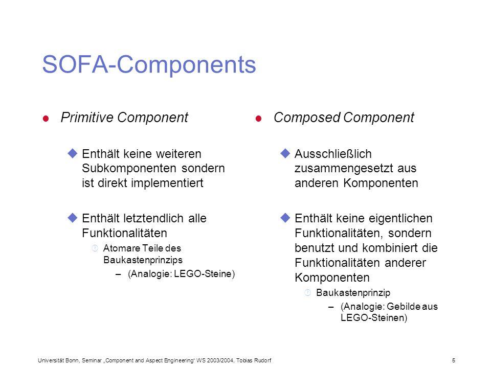 Universität Bonn, Seminar Component and Aspect Engineering WS 2003/2004, Tobias Rudorf36 Was man tun und lassen sollte (2) l Graphiken ureichlich benutzen unur in PowerPoint selbst erstellen · geht leichter · ist plattformunabhängig.