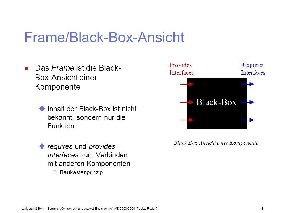 Universität Bonn, Seminar Component and Aspect Engineering WS 2003/2004, Tobias Rudorf37 Was man tun und lassen sollte (3) l Farben ueinfach so sein lassen.