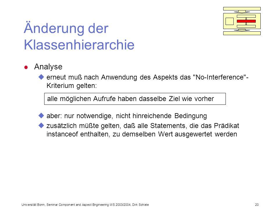 Universität Bonn, Seminar Component and Aspect Engineering WS 2003/2004, Dirk Schiele 20 Änderung der Klassenhierarchie l Analyse uerneut muß nach Anwendung des Aspekts das No-Interference - Kriterium gelten: uaber: nur notwendige, nicht hinreichende Bedingung uzusätzlich müßte gelten, daß alle Statements, die das Prädikat instanceof enthalten, zu demselben Wert ausgewertet werden alle möglichen Aufrufe haben dasselbe Ziel wie vorher