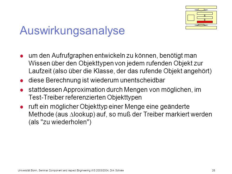 Universität Bonn, Seminar Component and Aspect Engineering WS 2003/2004, Dirk Schiele 26 Auswirkungsanalyse l um den Aufrufgraphen entwickeln zu können, benötigt man Wissen über den Objekttypen von jedem rufenden Objekt zur Laufzeit (also über die Klasse, der das rufende Objekt angehört) l diese Berechnung ist wiederum unentscheidbar l stattdessen Approximation durch Mengen von möglichen, im Test-Treiber referenzierten Objekttypen l ruft ein möglicher Objekttyp einer Menge eine geänderte Methode (aus lookup) auf, so muß der Treiber markiert werden (als zu wiederholen )