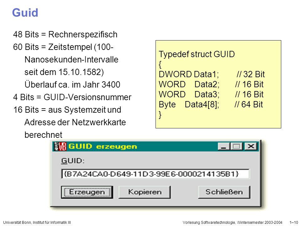 Universität Bonn, Institut für Informatik IIIVorlesung Softwaretechnologie, Wintersemester 2003-20041–10 Guid 48 Bits = Rechnerspezifisch 60 Bits = Ze