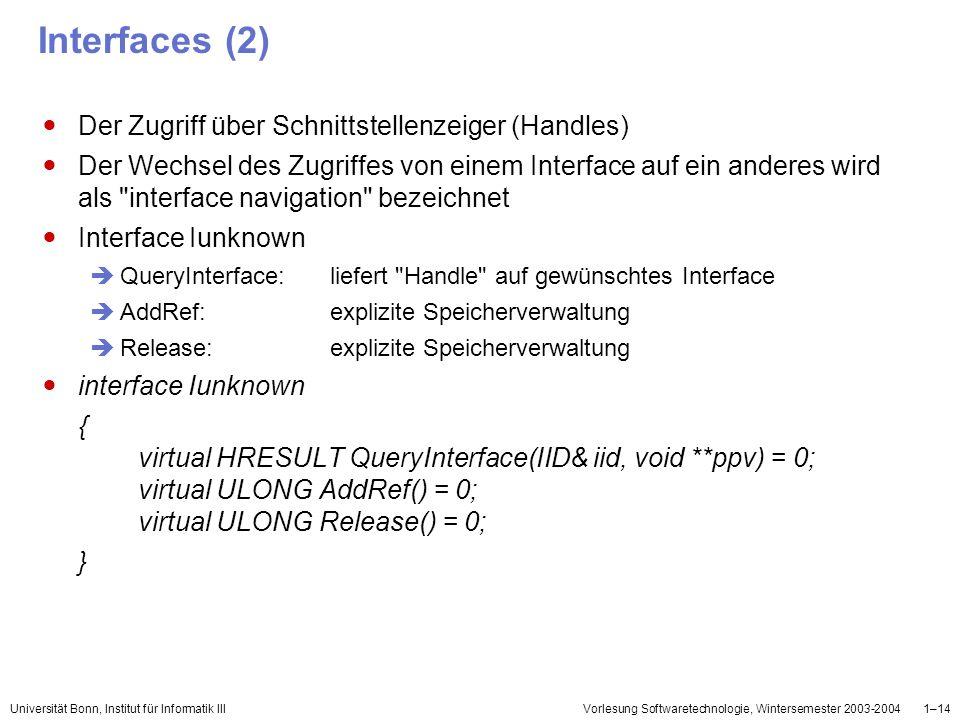 Universität Bonn, Institut für Informatik IIIVorlesung Softwaretechnologie, Wintersemester 2003-20041–14 Interfaces (2) Der Zugriff über Schnittstelle