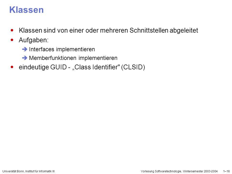 Universität Bonn, Institut für Informatik IIIVorlesung Softwaretechnologie, Wintersemester 2003-20041–16 Klassen Klassen sind von einer oder mehreren