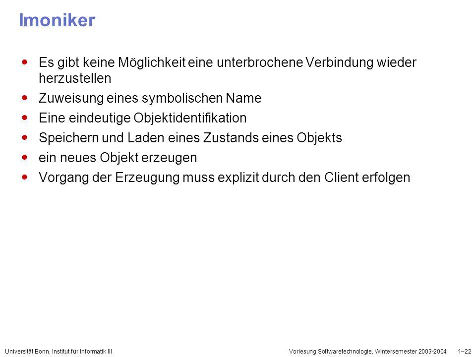 Universität Bonn, Institut für Informatik IIIVorlesung Softwaretechnologie, Wintersemester 2003-20041–22 Imoniker Es gibt keine Möglichkeit eine unter
