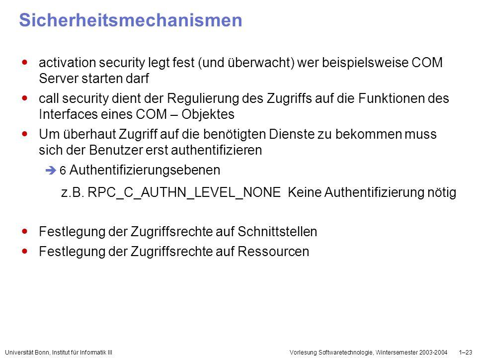 Universität Bonn, Institut für Informatik IIIVorlesung Softwaretechnologie, Wintersemester 2003-20041–23 Sicherheitsmechanismen activation security le