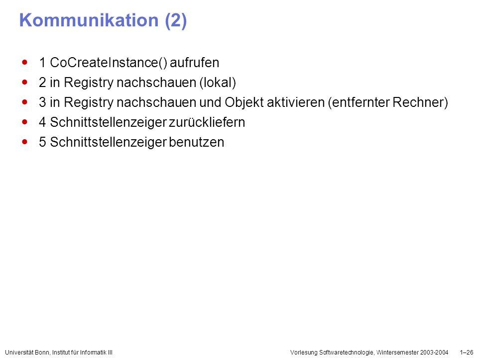 Universität Bonn, Institut für Informatik IIIVorlesung Softwaretechnologie, Wintersemester 2003-20041–26 Kommunikation (2) 1 CoCreateInstance() aufruf
