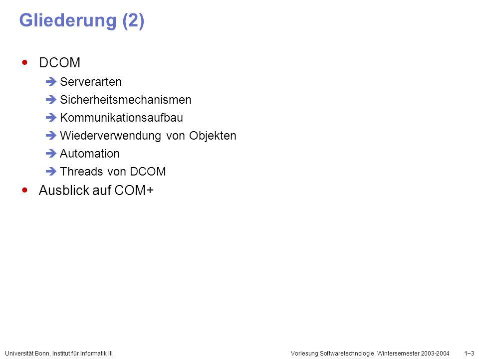 Universität Bonn, Institut für Informatik IIIVorlesung Softwaretechnologie, Wintersemester 2003-20041–14 Interfaces (2) Der Zugriff über Schnittstellenzeiger (Handles) Der Wechsel des Zugriffes von einem Interface auf ein anderes wird als interface navigation bezeichnet Interface Iunknown QueryInterface: liefert Handle auf gewünschtes Interface AddRef:explizite Speicherverwaltung Release: explizite Speicherverwaltung interface Iunknown { virtual HRESULT QueryInterface(IID& iid, void **ppv) = 0; virtual ULONG AddRef() = 0; virtual ULONG Release() = 0; }