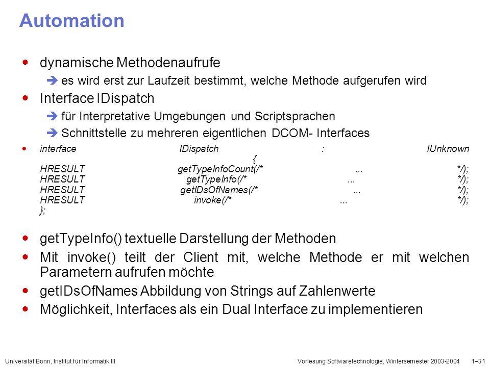 Universität Bonn, Institut für Informatik IIIVorlesung Softwaretechnologie, Wintersemester 2003-20041–31 Automation dynamische Methodenaufrufe es wird