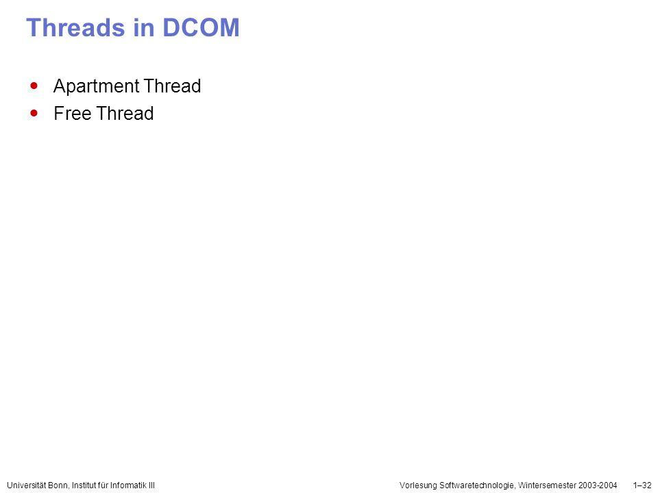 Universität Bonn, Institut für Informatik IIIVorlesung Softwaretechnologie, Wintersemester 2003-20041–32 Threads in DCOM Apartment Thread Free Thread