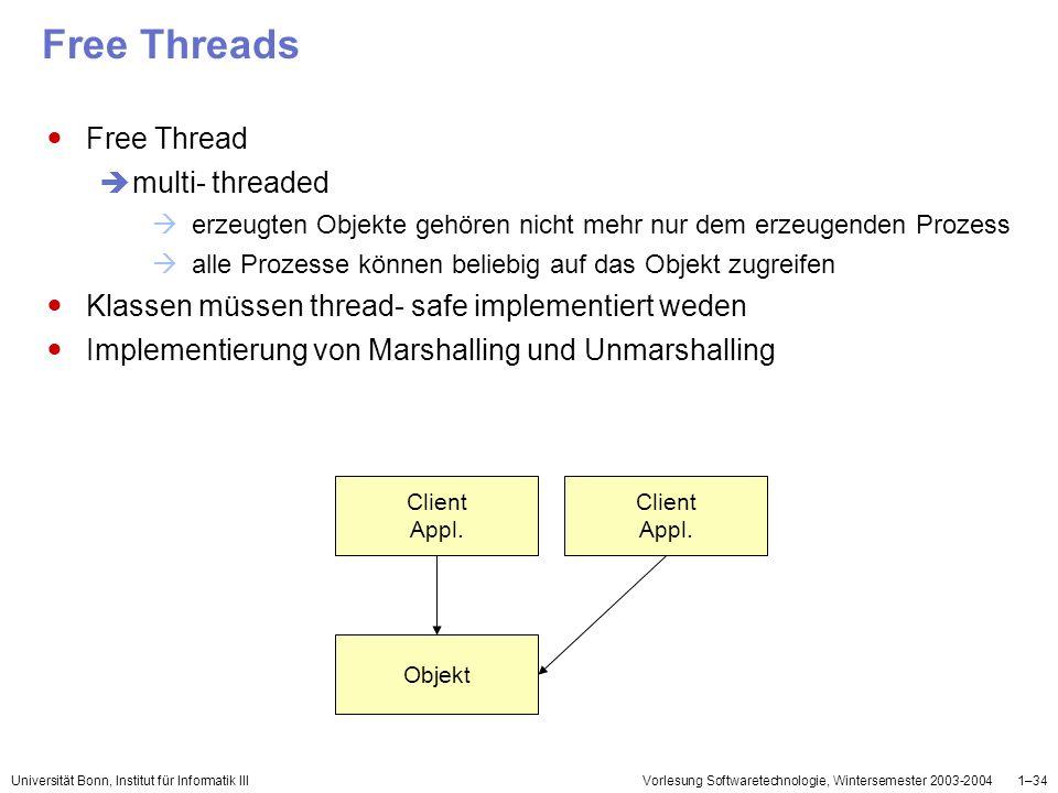 Universität Bonn, Institut für Informatik IIIVorlesung Softwaretechnologie, Wintersemester 2003-20041–34 Free Threads Free Thread multi- threaded erze