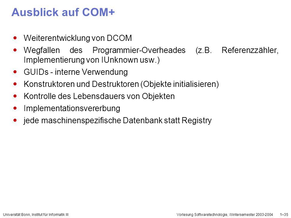 Universität Bonn, Institut für Informatik IIIVorlesung Softwaretechnologie, Wintersemester 2003-20041–35 Ausblick auf COM+ Weiterentwicklung von DCOM