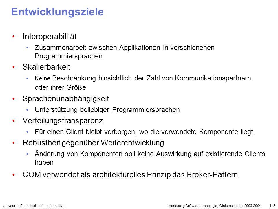 Universität Bonn, Institut für Informatik IIIVorlesung Softwaretechnologie, Wintersemester 2003-20041–16 Klassen Klassen sind von einer oder mehreren Schnittstellen abgeleitet Aufgaben: Interfaces implementieren Memberfunktionen implementieren eindeutige GUID - Class Identifier (CLSID)
