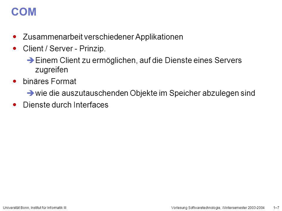 Universität Bonn, Institut für Informatik IIIVorlesung Softwaretechnologie, Wintersemester 2003-20041–18 DCOM Erweiterung des COMs Bearbeitung der Objekte,die sich auf verschiedenen Rechnern befinden Aufsetzt auf RPC(Remote Procedure Call) – Verfahren unterstützt TCP : Transmission Control Protocol UDP : User Data Protocol IPX : Internetwork Packet Exchange