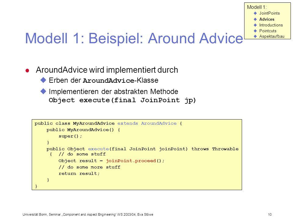 Universität Bonn, Seminar Component and Aspect Engineering WS 2003/04, Eva Stöwe 10 Modell 1: Beispiel: Around Advice AroundAdvice wird implementiert