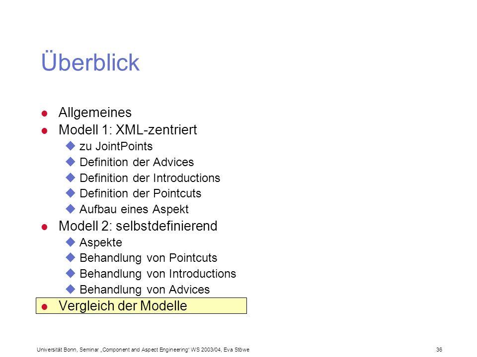 Universität Bonn, Seminar Component and Aspect Engineering WS 2003/04, Eva Stöwe 36 Allgemeines Modell 1: XML-zentriert zu JointPoints Definition der