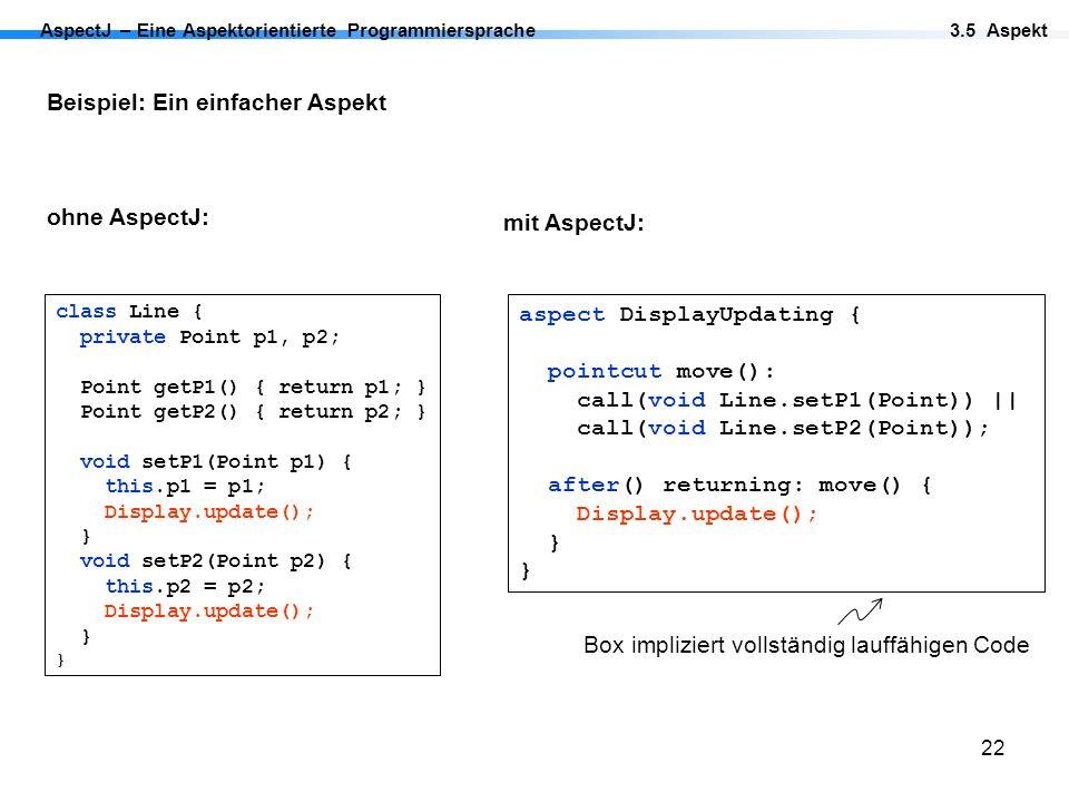 22 AspectJ – Eine Aspektorientierte Programmiersprache Beispiel: Ein einfacher Aspekt ohne AspectJ: 3.5 Aspekt Box impliziert vollständig lauffähigen