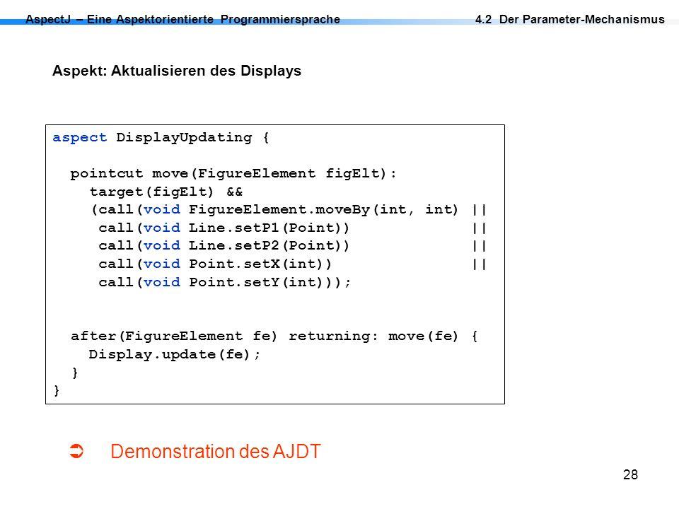 28 AspectJ – Eine Aspektorientierte Programmiersprache Aspekt: Aktualisieren des Displays aspect DisplayUpdating { pointcut move(FigureElement figElt)