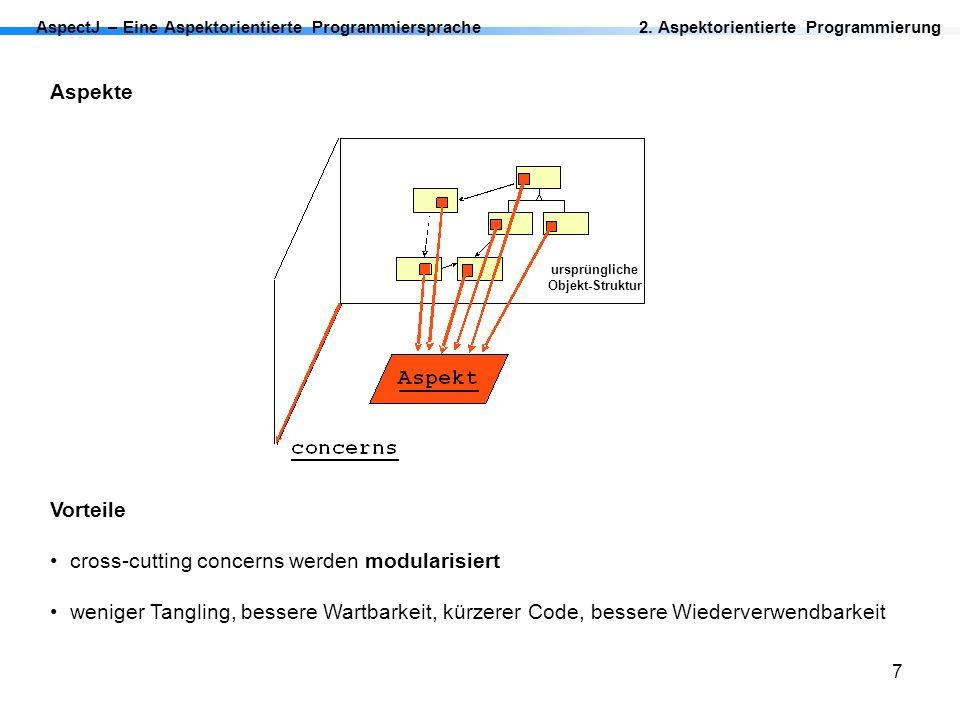 7 AspectJ – Eine Aspektorientierte Programmiersprache2. Aspektorientierte Programmierung Aspekte Vorteile cross-cutting concerns werden modularisiert