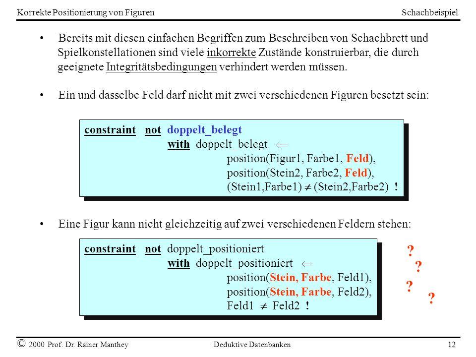 Schachbeispiel © 2000 Prof. Dr. Rainer Manthey Deduktive Datenbanken 12 Korrekte Positionierung von Figuren Bereits mit diesen einfachen Begriffen zum