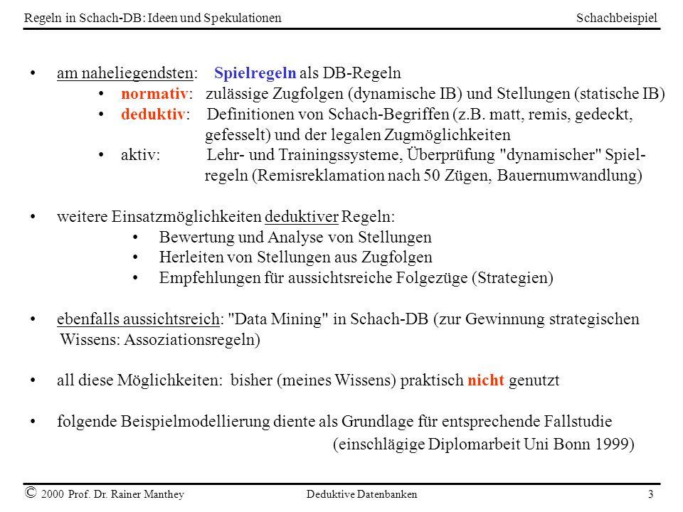 Schachbeispiel © 2000 Prof. Dr. Rainer Manthey Deduktive Datenbanken 3 Regeln in Schach-DB: Ideen und Spekulationen am naheliegendsten: Spielregeln al