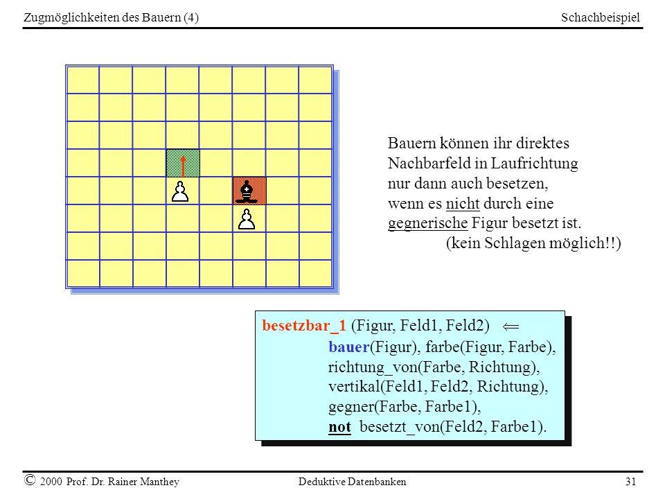 Schachbeispiel © 2000 Prof. Dr. Rainer Manthey Deduktive Datenbanken 31 Zugmöglichkeiten des Bauern (4) Bauern können ihr direktes Nachbarfeld in Lauf