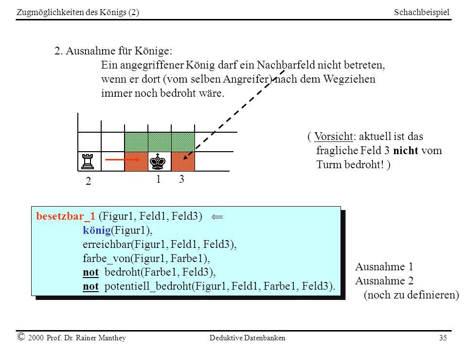 Schachbeispiel © 2000 Prof. Dr. Rainer Manthey Deduktive Datenbanken 35 Zugmöglichkeiten des Königs (2) 2. Ausnahme für Könige: Ein angegriffener Köni