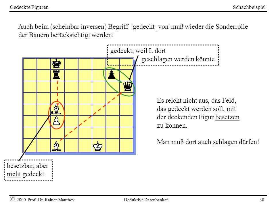 Schachbeispiel © 2000 Prof. Dr. Rainer Manthey Deduktive Datenbanken 38 Gedeckte Figuren Auch beim (scheinbar inversen) Begriff 'gedeckt_von' muß wied