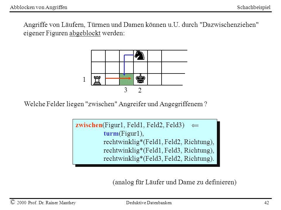 Schachbeispiel © 2000 Prof. Dr. Rainer Manthey Deduktive Datenbanken 42 Abblocken von Angriffen Angriffe von Läufern, Türmen und Damen können u.U. dur