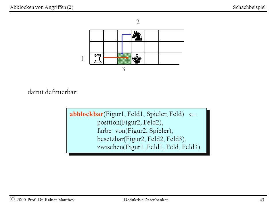 Schachbeispiel © 2000 Prof. Dr. Rainer Manthey Deduktive Datenbanken 43 Abblocken von Angriffen (2) 1 3 2 damit definierbar: abblockbar(Figur1, Feld1,