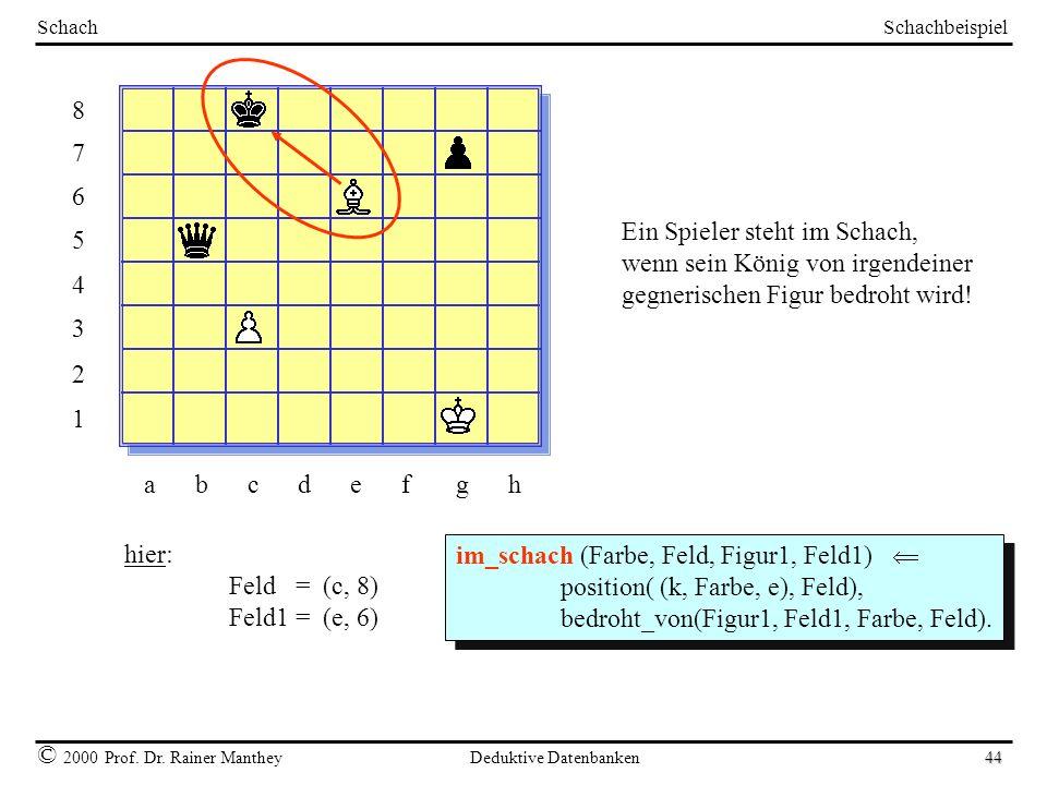 Schachbeispiel © 2000 Prof. Dr. Rainer Manthey Deduktive Datenbanken 44 Schach 8765432187654321 a b c d e f g h Ein Spieler steht im Schach, wenn sein